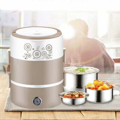 AU30.89 • Buy AUS Portable 2L 3-Layer Electric Lunch Box Rice Cooker Food Steamer Container
