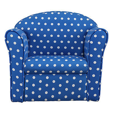 Kids Children's Tub Chair Baby Armchair Sofa Stool Blue W/ White Spotted Fabric • 33.99£
