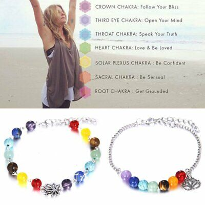 AU2.75 • Buy 7 Chakra Healing Beaded Bracelet Crystal Natural Stone Diffuser Bracelet Jewelry