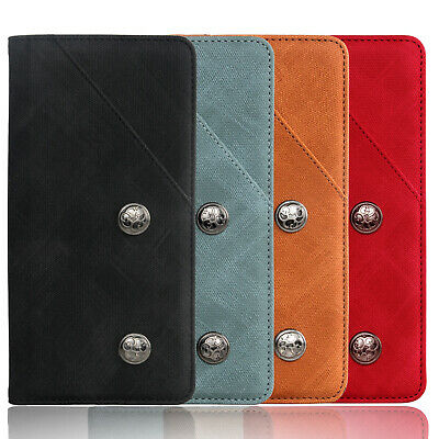 AU17.81 • Buy Retro Case Flip Stand Premium Real Leather Wallet Silicone Cover For Sony/HTC