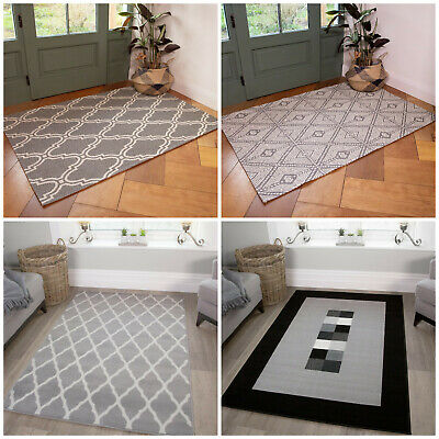 Cheap Living Room Rugs Grey Budget Geometric Small Large Rugs Reduced Hearth Rug • 69.95£
