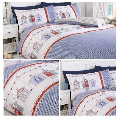 Blue Duvet Covers Beach Huts Reversible Summer Nautical Quilt Cover Bedding Sets • 17.95£