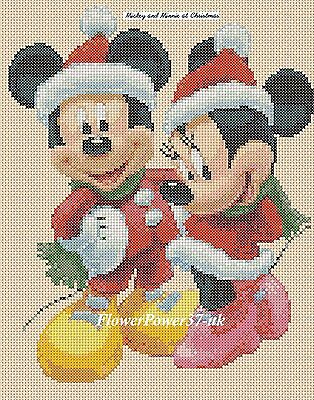 £4.50 • Buy Cross Stitch Chart - Mickey Mouse & Minnie At Christmas  Flowerpower37-uk
