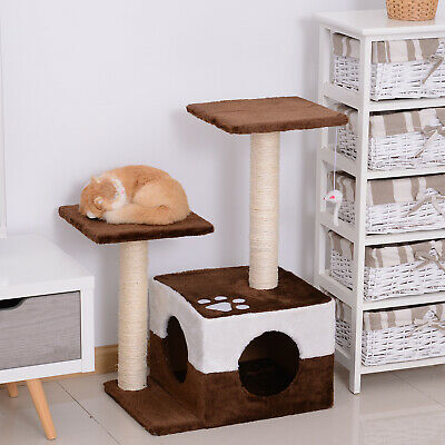 Cat Tree Scratcher Condo Play House Activity Center Post W/ Hanging Toy Brown • 22.99£