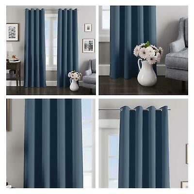 Navy Blue Curtains Blockout Thermal Eyelet Curtain Ready Made Ring Top Pairs • 24.65£