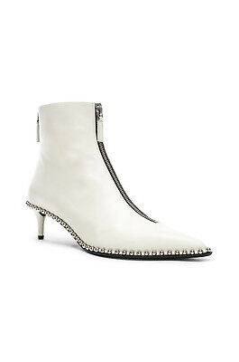 AU982.79 • Buy Alexander Wang Women's Eri White Leather Studded Low Boots Zipper Front