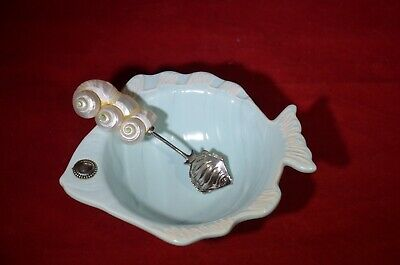 Mud Pie Fish Bowl With Sea Shell Spoon Mudpie Light Blue Dip Sauce Dish Salsa  • 12.18£