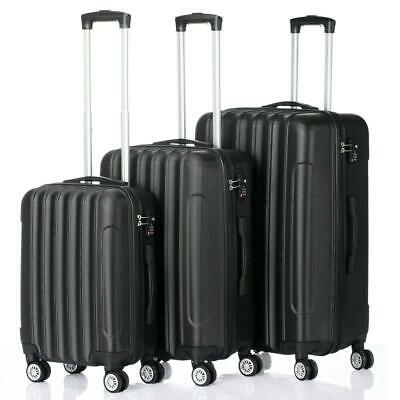 View Details Hardside 3 Piece Nested Spinner Suitcase Luggage Set With TSA Lock Black • 75.99$