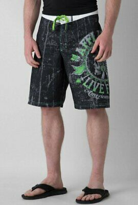24f38baf57 New Affliction Black Premium Stampede American Customs Boardshorts Shorts  32 • 29.74$