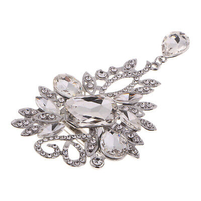 1Pc Rhinestone Brooch Pin With Floral Design For Wedding Bridal Dress Decor • 4.21£