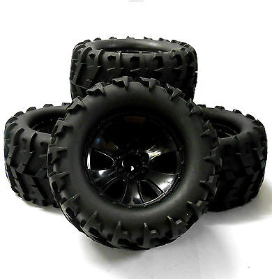 BS904-014B 1/10 Scale Black RC Nitro Monster Truck Off Road Wheels And Tyres X 4 • 39£