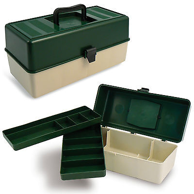 AU14.24 • Buy Fishing Box Supplies Accessories Tackle Gear Kit Bait Hooks 2 Moveable Trays NEW