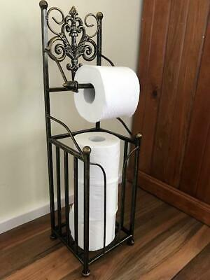 AU65 • Buy Elegant Iron French Style Toilet Paper Roll Holder Stand With Storage BRS HYL018