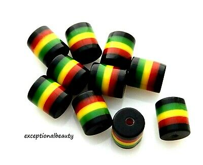 $6.99 • Buy 100 Rasta Jamaica Black Red Green Yellow Striped 9x8mm Round Tube Resin Beads