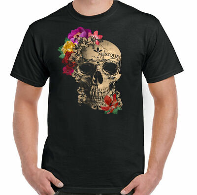 £9.94 • Buy Day Of The Dead T-Shirt Sugar Skull Mexique Mens Mexico Holiday Biker Tattoo Top