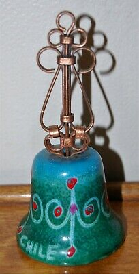 NICE Vintage Handpainted Enamel & Copper Bell, Made In Chile • 11$
