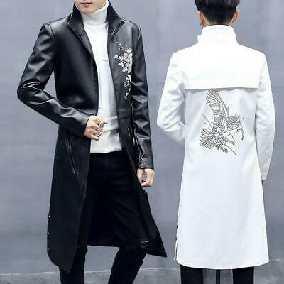$53.40 • Buy Mens Trench Coat Leather Printed Floral Outwear Overcoat Long Jacket Overcoat