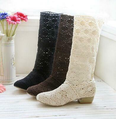 £27.60 • Buy Ladies Mesh Flat Cut Out Womens Shoes Knitted Mid Calf Boot Sandal Summer Boots