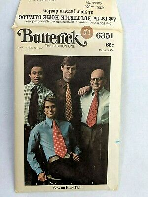 $10 • Buy Butterick Sew An Easy Tie Pattern 6351 Uncut With Original Instruction Book