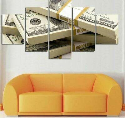 $89.99 • Buy Large Framed Money Stacks 100 Dollar Bills 5 Piece Canvas Wall Art Home Decor