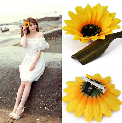 $1.15 • Buy 2PC Women Sunflower Flower Hair Clip Accessories Barrette Hawaiian Wedding Party