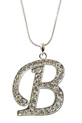 £4.95 • Buy Large Silver Initial Letter Word Alphabet B Necklace Pendant Crystal Diamante UK