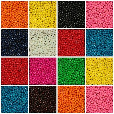 200 Pcs - 8mm ROUND WOODEN BEADS WOOD CRAFT BEAD KIDS MANY COLOURS UK • 1.49£