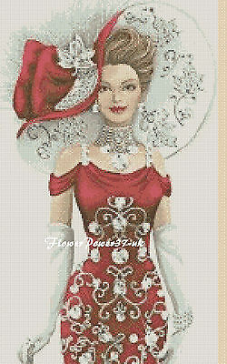 Cross Stitch Chart  Elegant Lady 156e Flowerpower37-uk.-.free Uk P&p...... • 3.75£