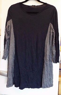 £26 • Buy Yong Kim Crinkle Tunic With Contrast Panel Detail Size 10 Navy/slate