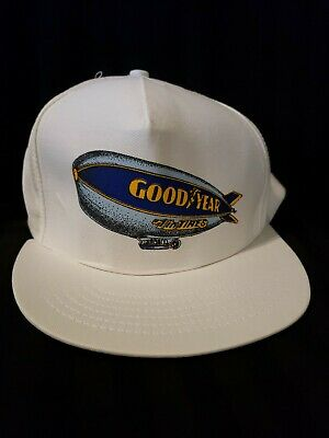 2fdc1a85 Vintage Goodyear Blimp #1 In Tires Hat Osfa Made In The Usa White Snapback  Hat