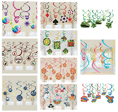 £3.99 • Buy 12 HANGING SWIRLS - Themed Party Decorations - Childrens Adult Birthday Banners