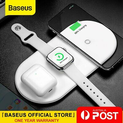 AU38.99 • Buy Baseus 3 In 1 Qi Wireless Charger For IPhone X XS Max For Airpods 2 Samsung S9