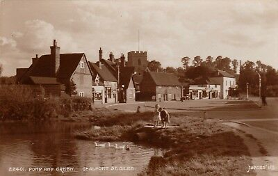 Pond And Green, Chalfont St. Giles, Buckinghamshire : Real Photo Postcard (1950) • 3.99£
