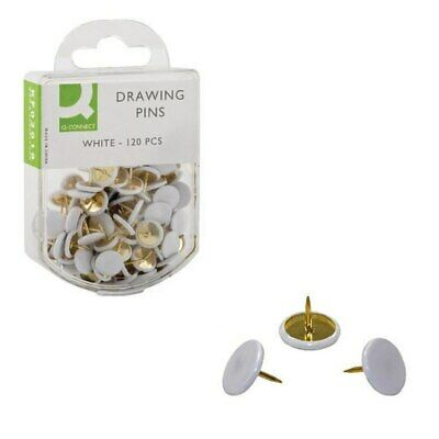 Q-Connect Drawing Pin White Head Pack Of 120 KF02019Q - FREE UK P&P • 2.19£