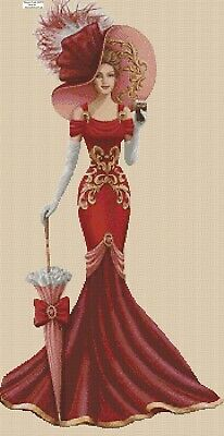 Cross Stitch Chart  Elegant Lady EL156YY  DMC Flowerpower37-uk • 3.75£