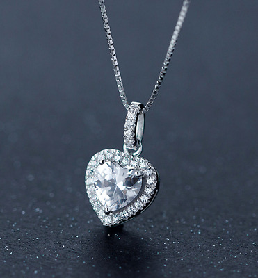 Heart Crystal Stone Pendant Necklace 925 Sterling Silver Chain Womens Jewellery • 3.97£