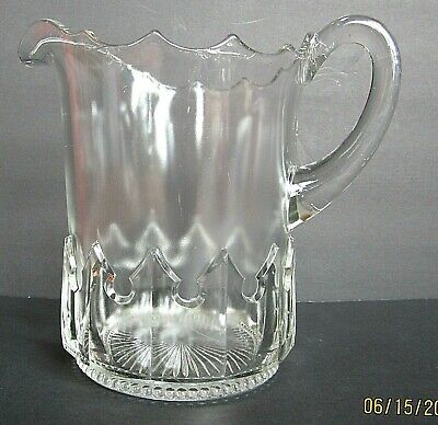 $27.99 • Buy Antique Glass Large Pitcher, Beaded & Crown Band
