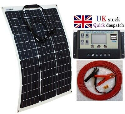 30w 50w 80w 100w 120w Flex Solar Panel + LCD Charger Controller + 4m Cable Clips • 9.95£