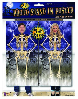 $4.95 • Buy 2 5' Panels Face Cut-Out Skeleton Posters Halloween Haunted House Decoration