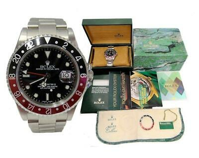 $ CDN16552.04 • Buy Stainless Steel Rolex Date Gmt Master Ii Black Dial Coke Bezel Watch 16710 40mm