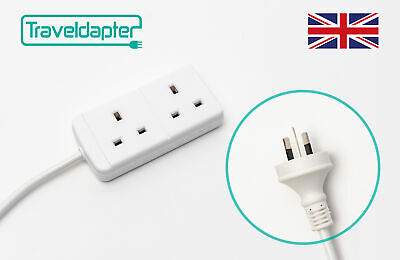 AU27.57 • Buy World Wide Travel Adapter THAILAND Extension Lead Multi 2 UK Plug To 2 Pin 1m