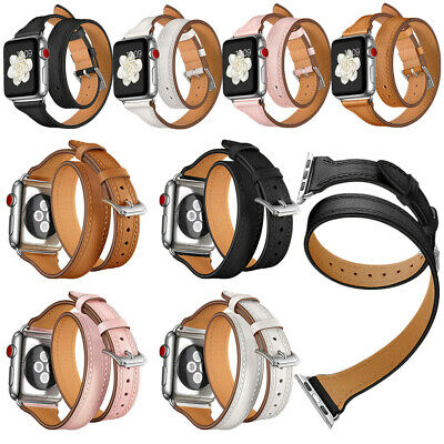 AU21.27 • Buy New Genuine Leather Watch Band Double Tour Strap For Apple Watch Series 4 3 2 1
