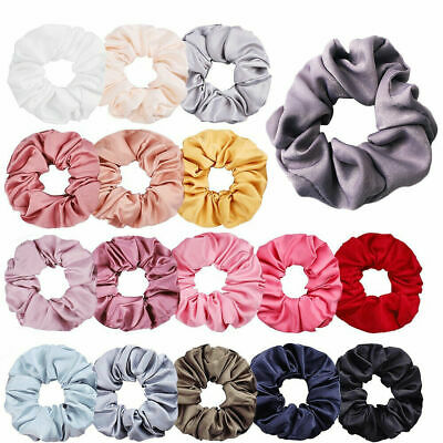 $1.99 • Buy Women Silky Satin Hair Scrunchies Elastic Hair Bands Ponytail Hair Tie Rope Gift