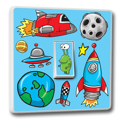 Cute Cartoon Space Theme Switch Cover Vinyl Sticker Spaceship Alien Kids Room • 2.59£