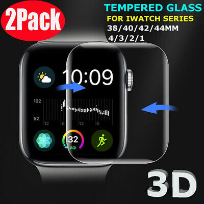 $ CDN2.94 • Buy 2PKS For Apple Watch 40/44/42/38mm FULL COVER 3D Tempered Glass Screen Protector