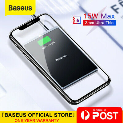 AU26.99 • Buy Baseus 15W Qi Wireless Charger Fast Charging Ultra-thin Pad For IPhone Samsung
