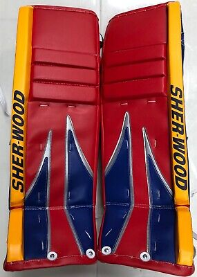 $599.99 • Buy New Sherwood T100 M Series Pro Stock Hockey Goalie Leg Pads 35+1 Red/Blue/Yellow