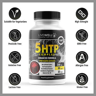 AU14.24 • Buy 5HTP 5 HTP Helps Serotonin, Insomnia, Anxiety, Stress, Mood, 200mg 90 Tablets