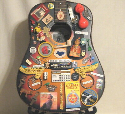 $150 • Buy UNIQUE VINTAGE GUITAR ART - COMPLETELY DECORATED With WHIMSICAL VINTAGE ITEMS