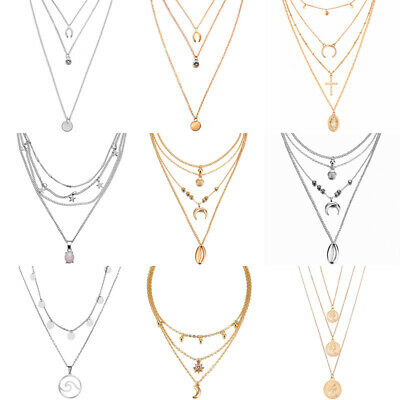$1.24 • Buy HOT Women Multi-layer Long Chain Pendant Crystal Choker Necklace Jewelry Gift